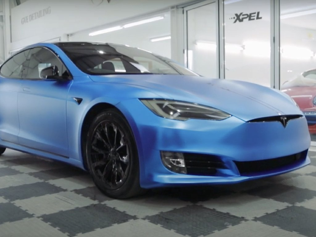 Satin Chrome Blue Tesla Model S Wrap | GVE Customs | West London