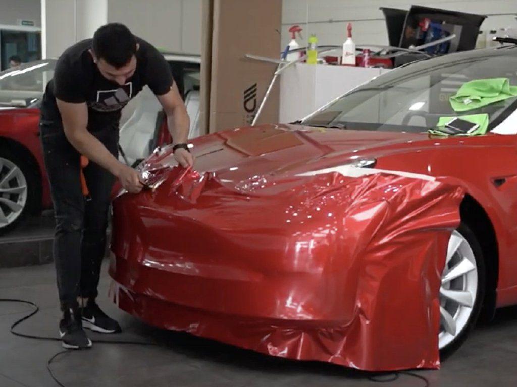 Tesla Model 3 Wrapped in Luscious Lips Red   GVE Customs   London