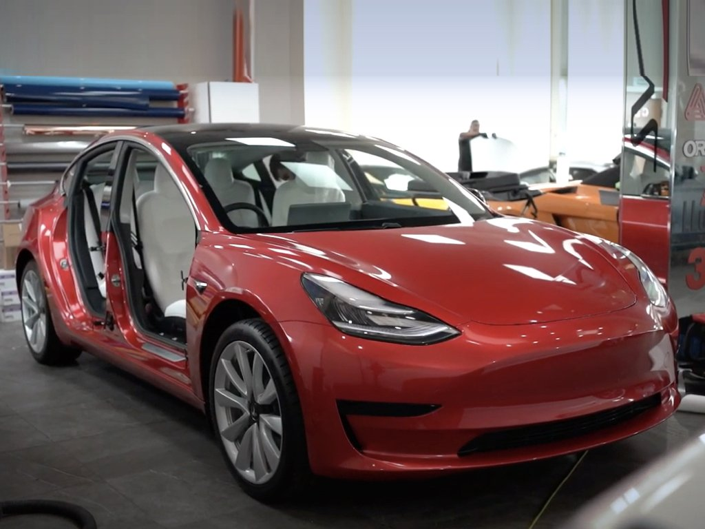 Tesla Model 3 Wrapped in Luscious Lips Red | GVE Customs | London